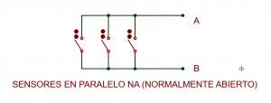 Grupo de sensores en paralelo normalmente abiertos