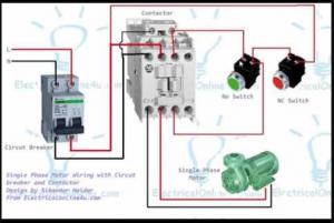 ejemplo de conexión de un contactor monofásico