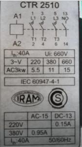 Figura 3: Placa típica de un contactor.