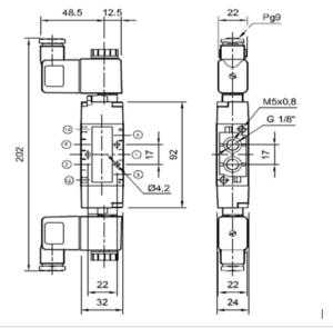 Dimensionamiento para la electroválvula 5/2 biestable.